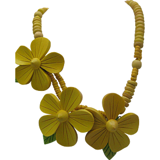 Sunny Yellow Wooden Floral Necklace