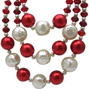 Glass Valentines Red White C1950 Necklace