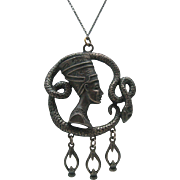 Huge pewter Nefertiti Pendant and Chain 3 inches