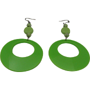 Lime Green Plastic Earrings 1960
