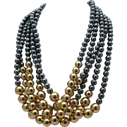 c1980 Golden Gray Beaded Necklace