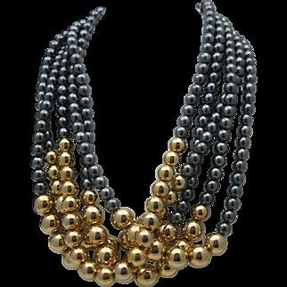 c1980 Golden Gray Beaded Necklace