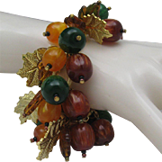 Glass Autumn Leaves Charm Bracelet 8 inches Loaded