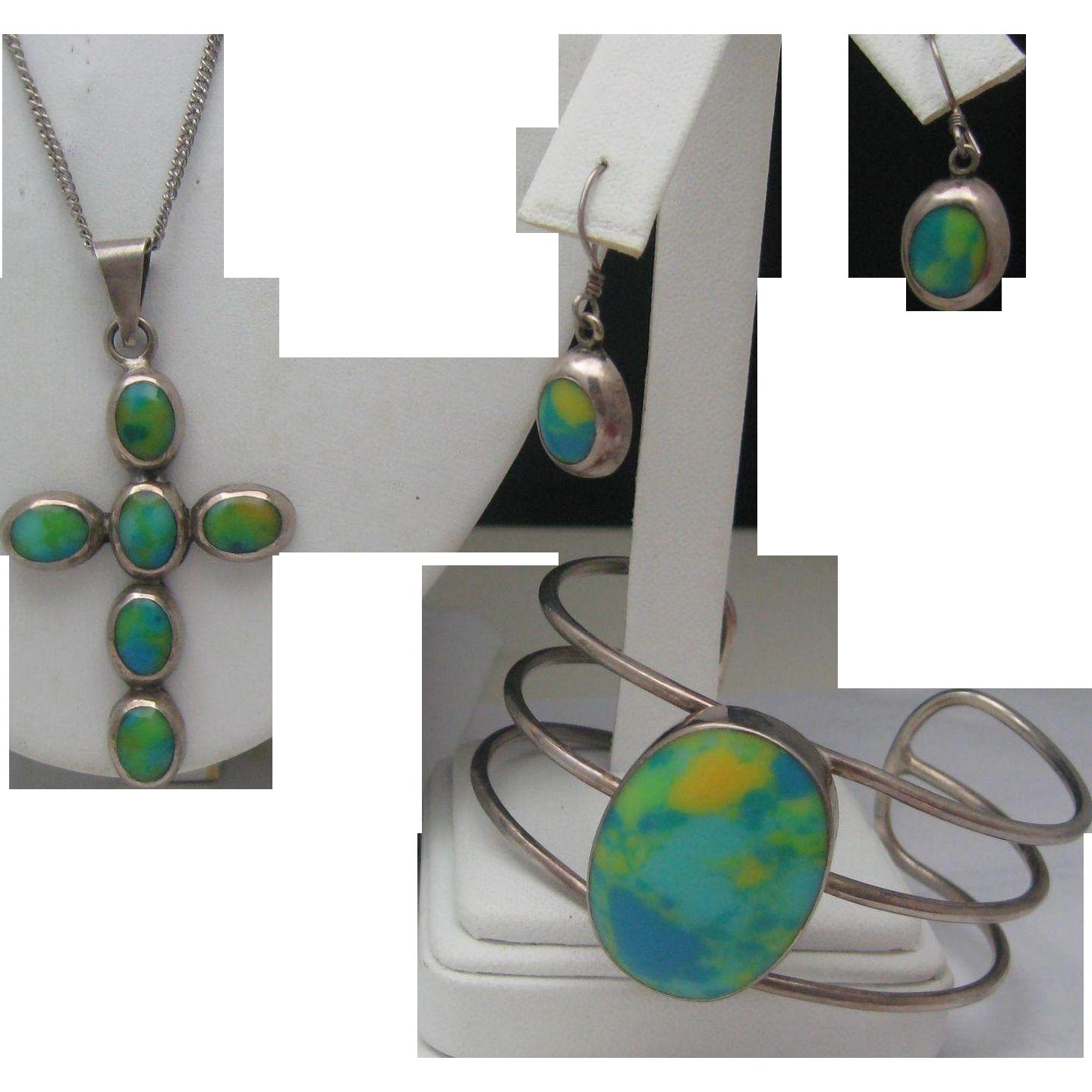 Sterling Turquoise Canary Bracelet Earrings Cross Pendant