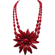 Mid  Century Red Glass Necklace Huge Floral Accent