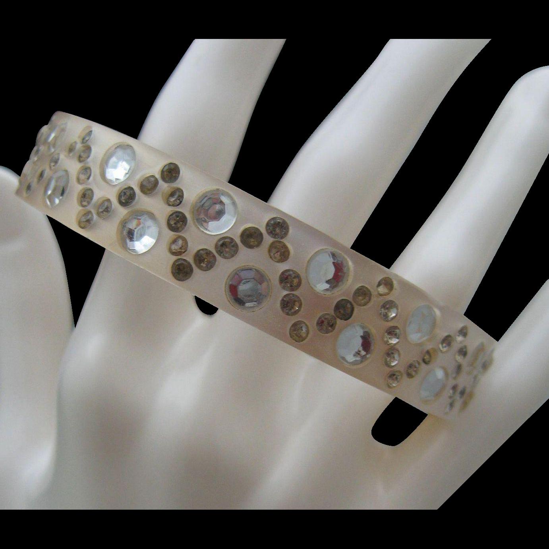 Art Deco Celluloid Bracelet Rhinestones