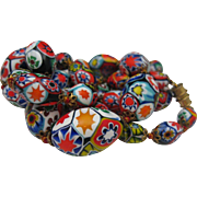 C1940 Hand Blown MIllefiori Venetian Necklace