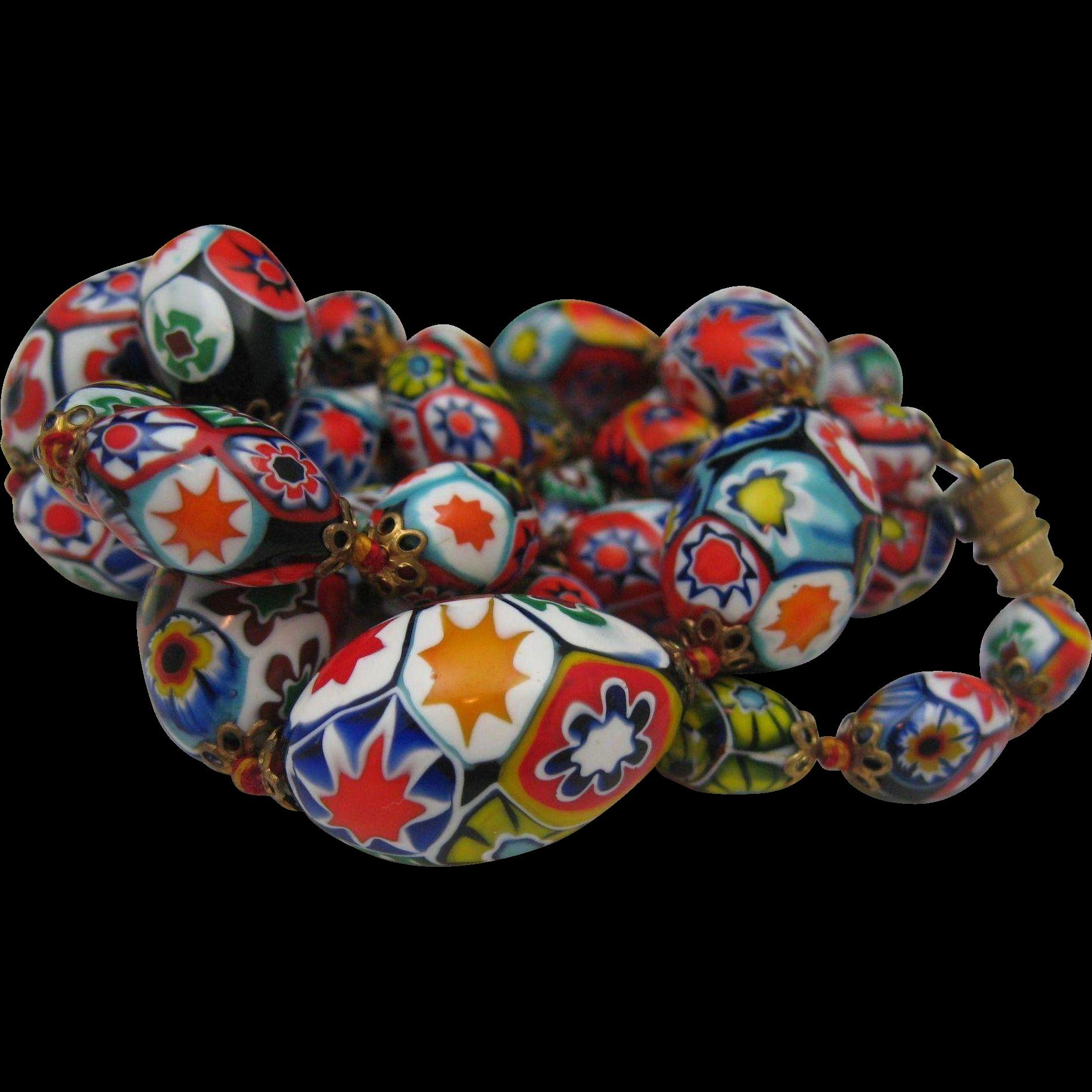 C1940 Hand Blown MIllefiori Venetian Necklace