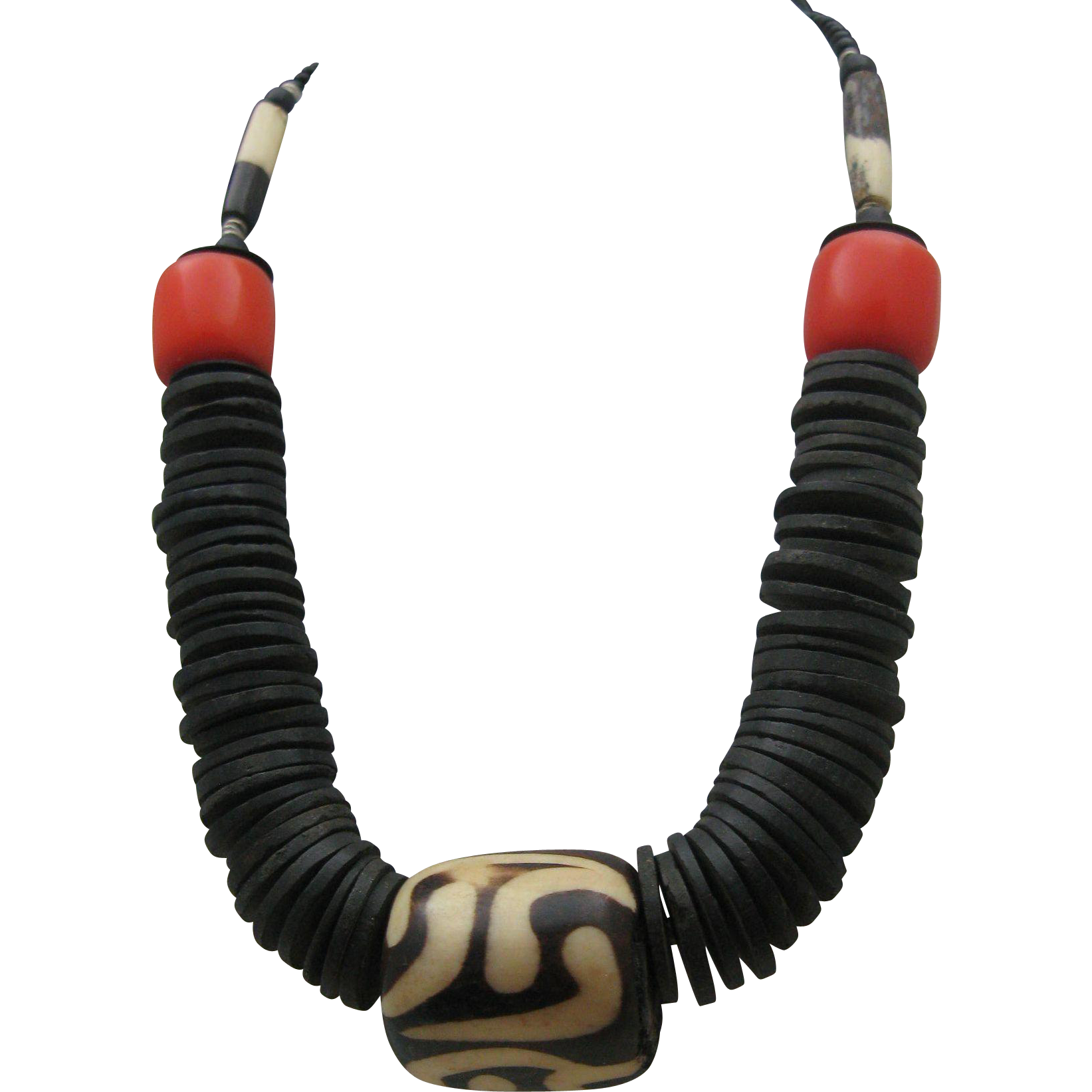 Tribal Bone Amber Necklace