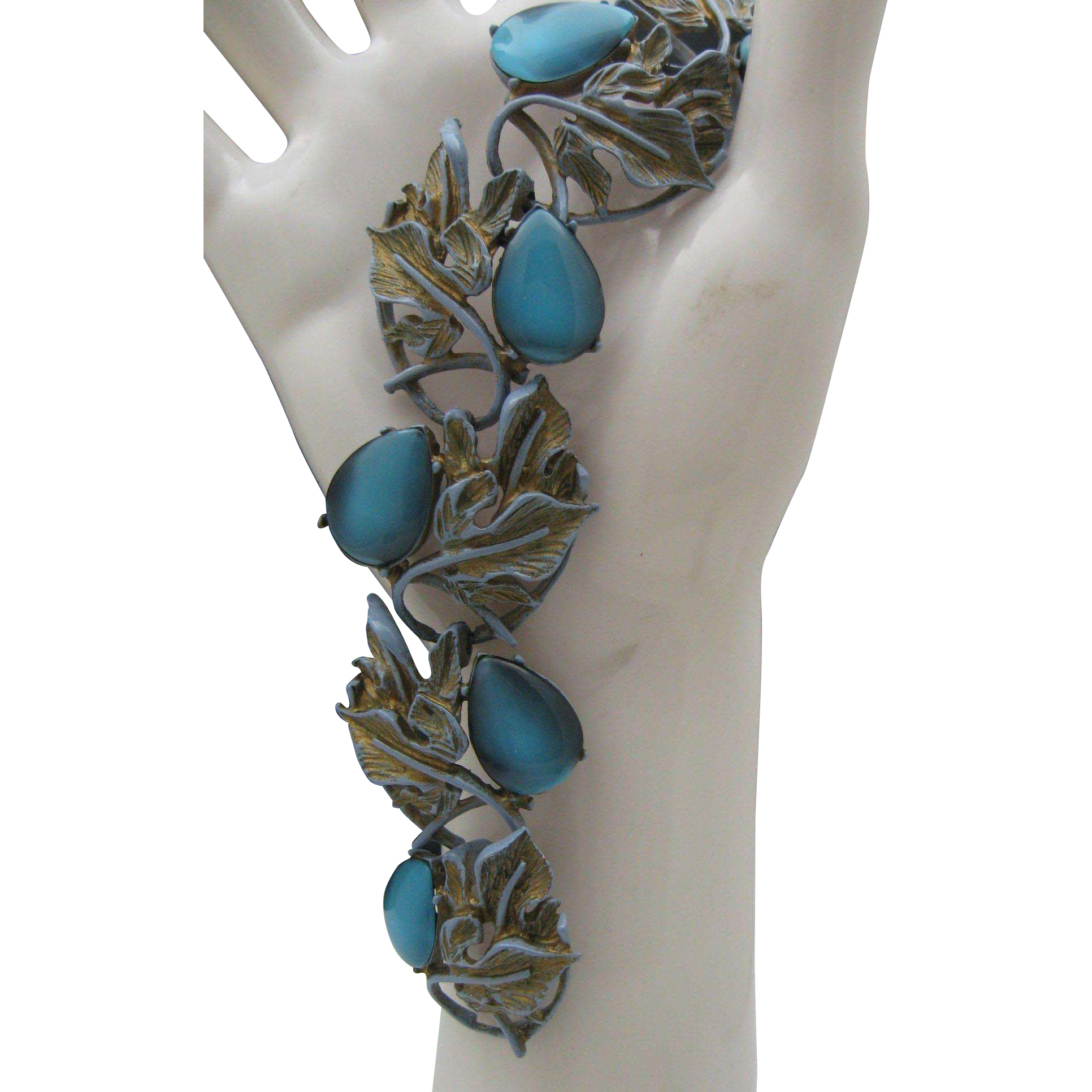 c1940 Blue Foliage Bracelet