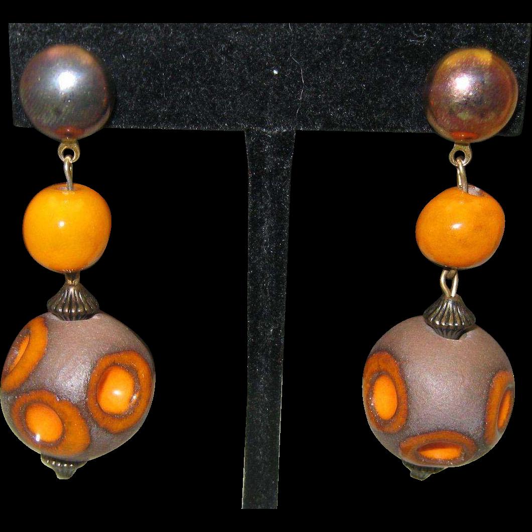 c1970 Pottery Earrings Pierced