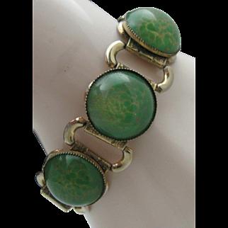 Green Glass Book Chain Bracelet c1940