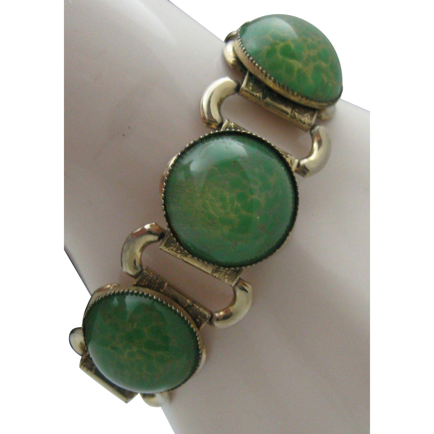 Green Glass Book Chain Bracelet c1940