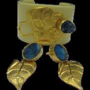 Druzy Quartz Bracelet Pierced Earrings Set