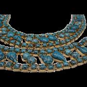 Mottled Blue Glass Necklace Bracelet Set 1950