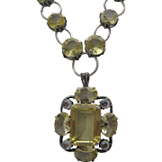 Citron Glass Pendant Style Necklace c1980