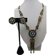 Czech Lavalier Necklace Earrings Set 1940