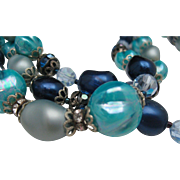 Blue Green Glass Three Stand Necklace 1960