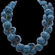 Sky Blue Celluloid Button Necklace c1940