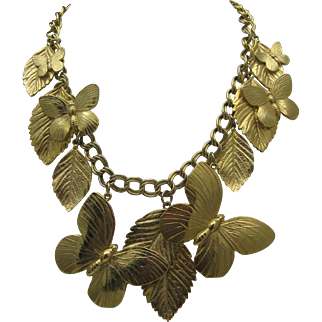 Butterfly Charm Necklace Gold Toned c1970