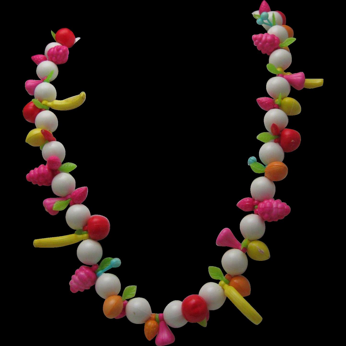 60's Plastic Fruit Necklace Carmen Miranda