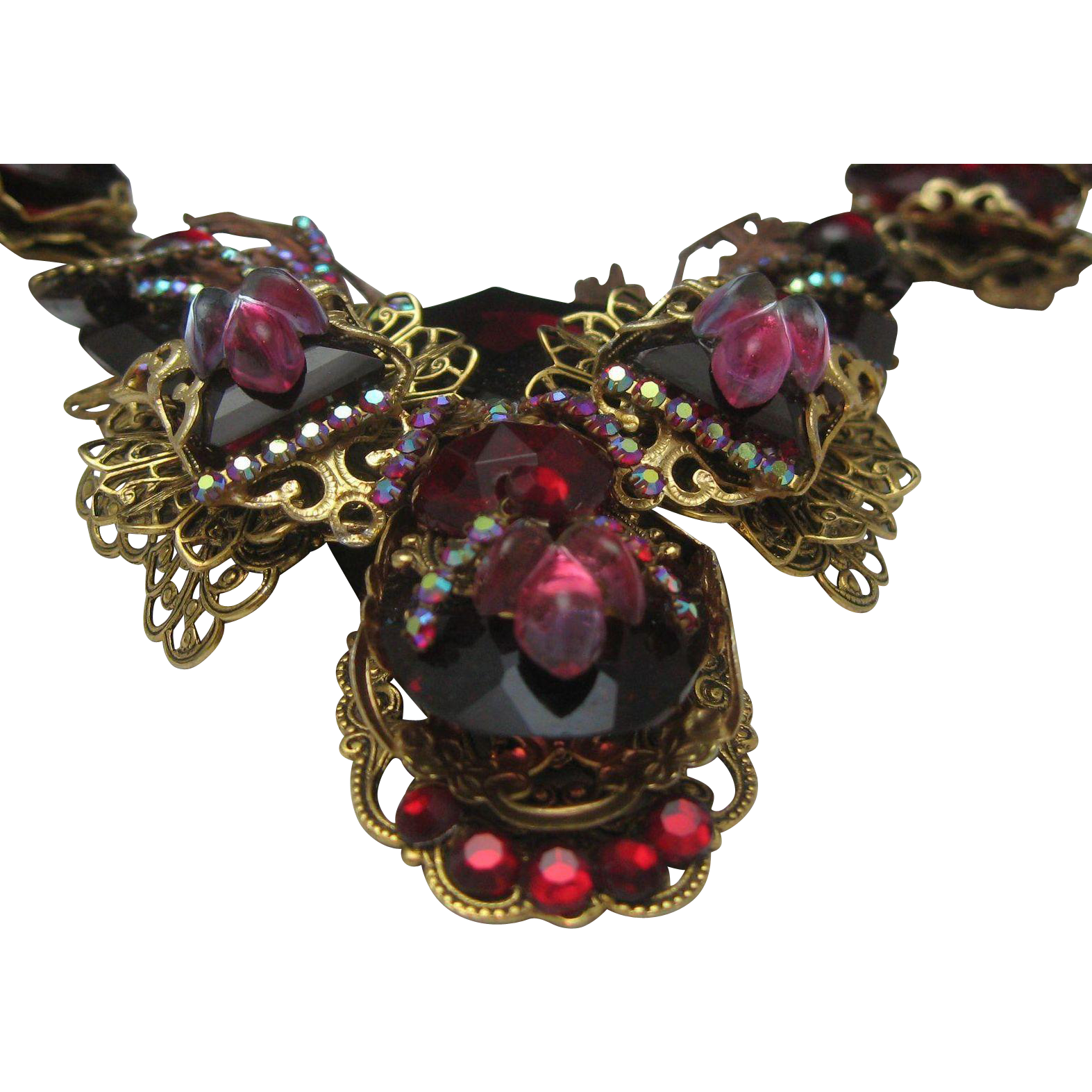 French Ruby Red Glass Ballroom Necklace
