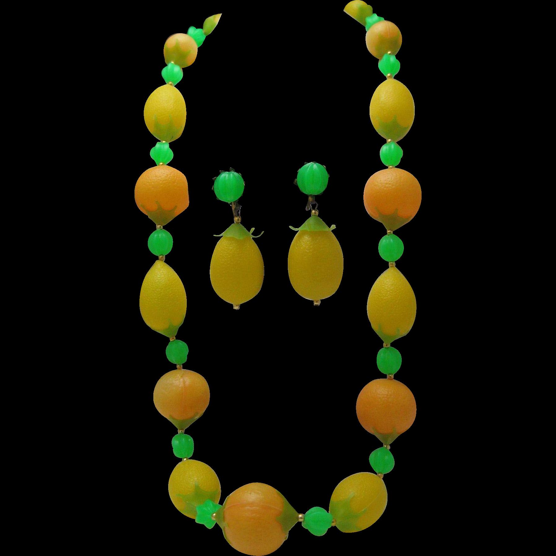 Lemon Lime Orange Necklace Earrings c1960