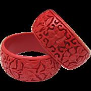 Pair Chinese Vermillion Cinnabar Bracelets 1970
