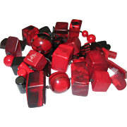 Sobral Lucite Necklace Red Black 27 inches