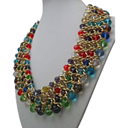 Rainbow Crystal Woven Necklace c1980