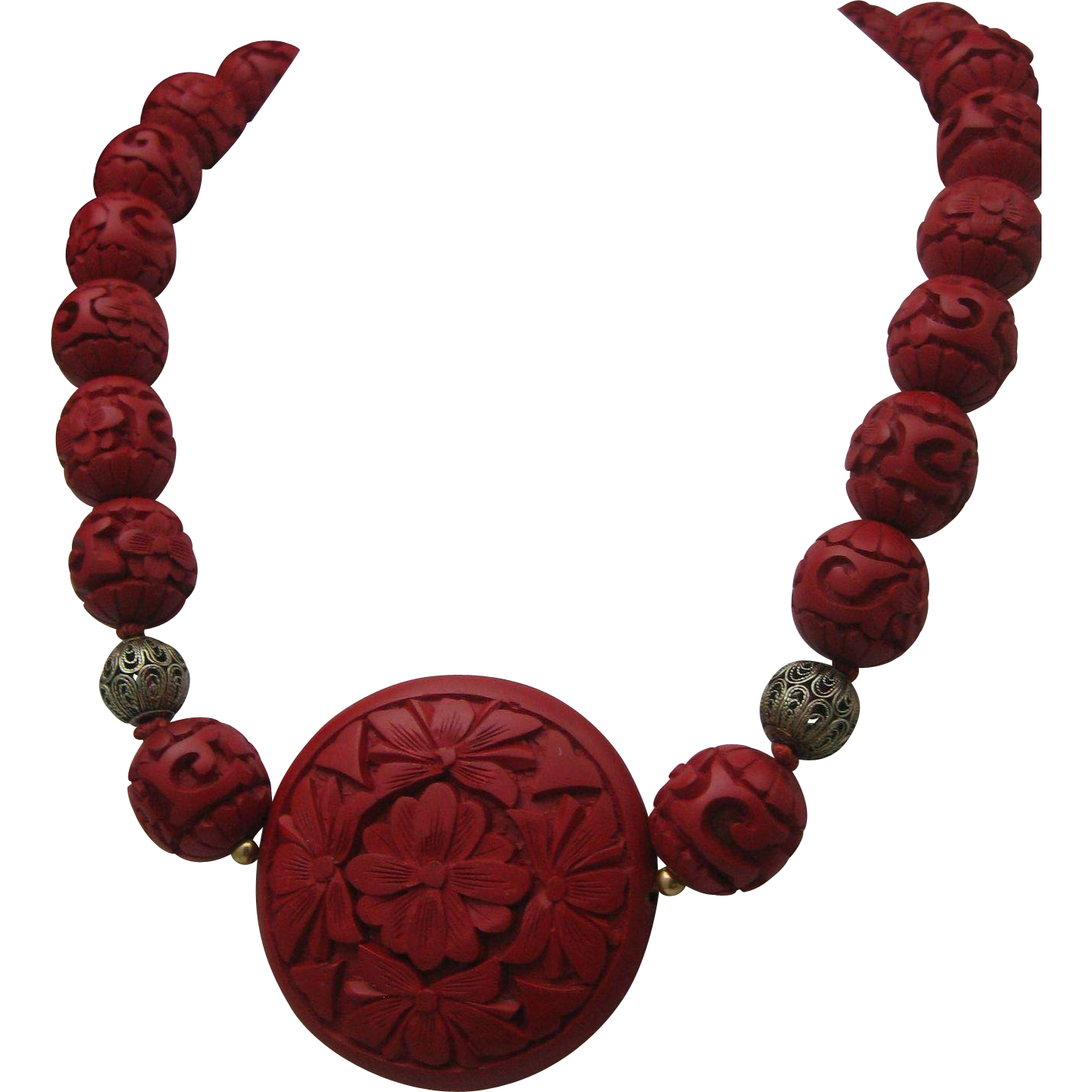 Chinese Export Cinnabar Necklace Silver 1960