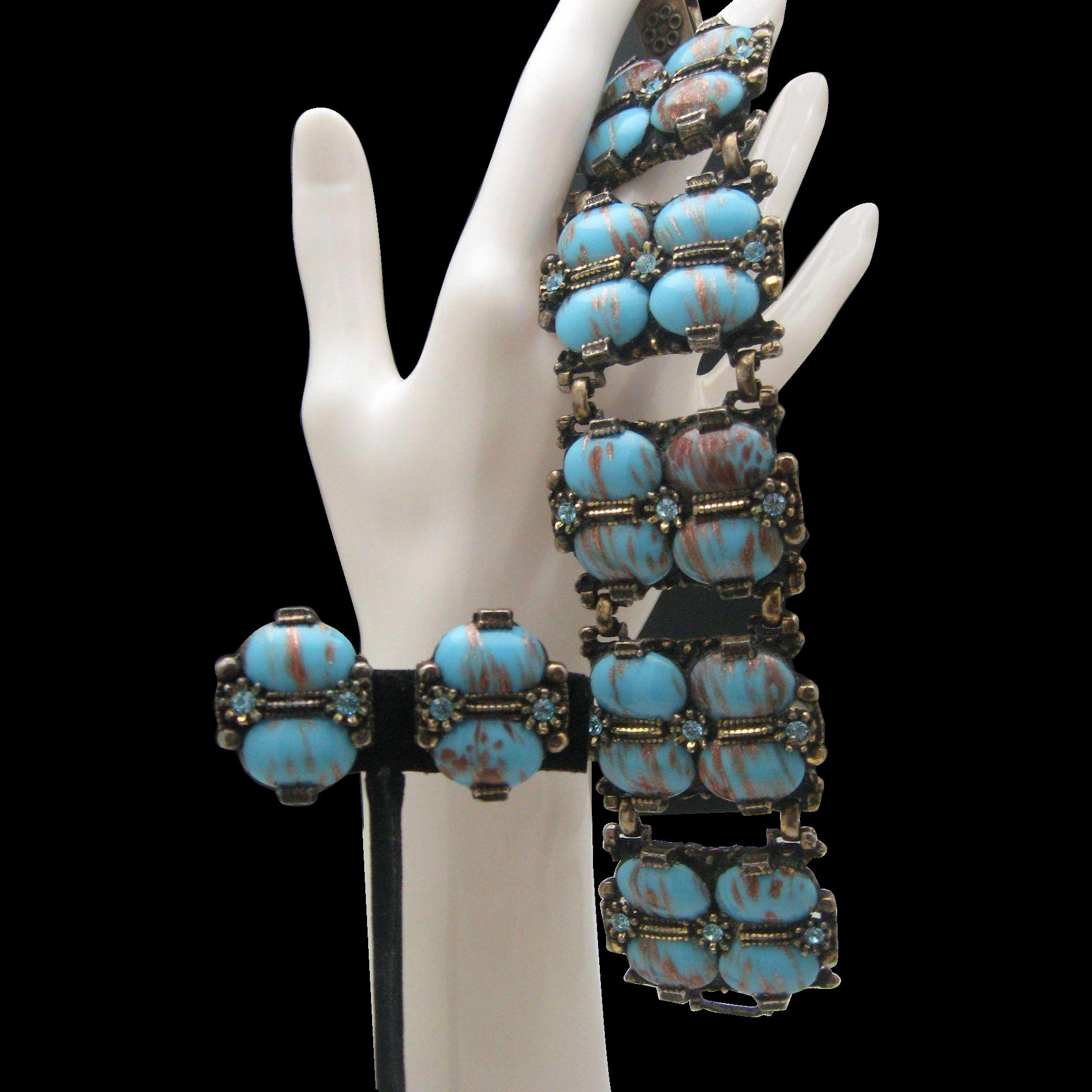 Selro Blue Glass Bracelet Earrings Set 1950