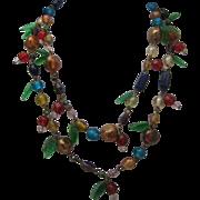 Italian Glass Two Strand Necklace c1950