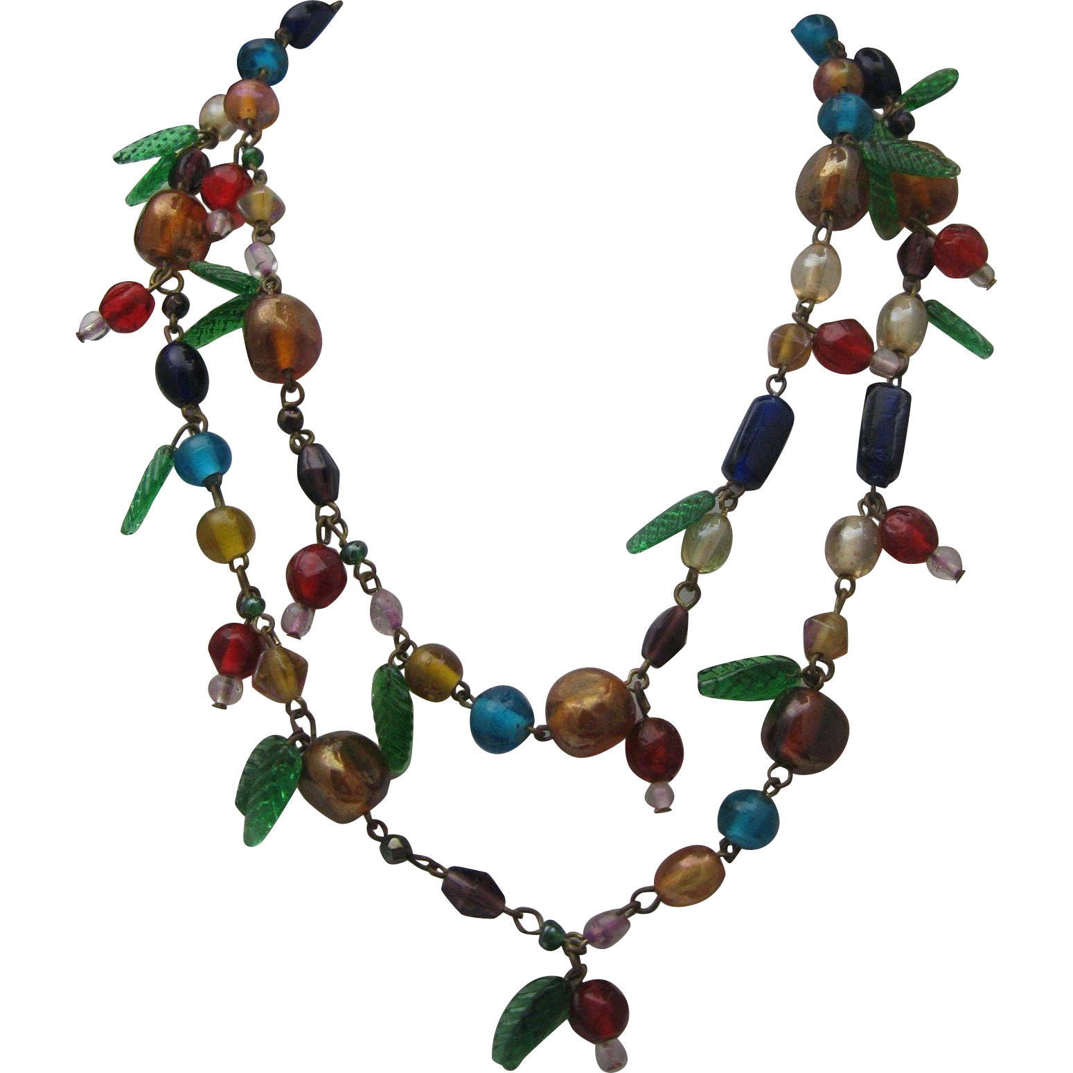Italian Glass Two Strand Necklace c1950