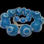 Blue Lucite Bead Necklace 1970