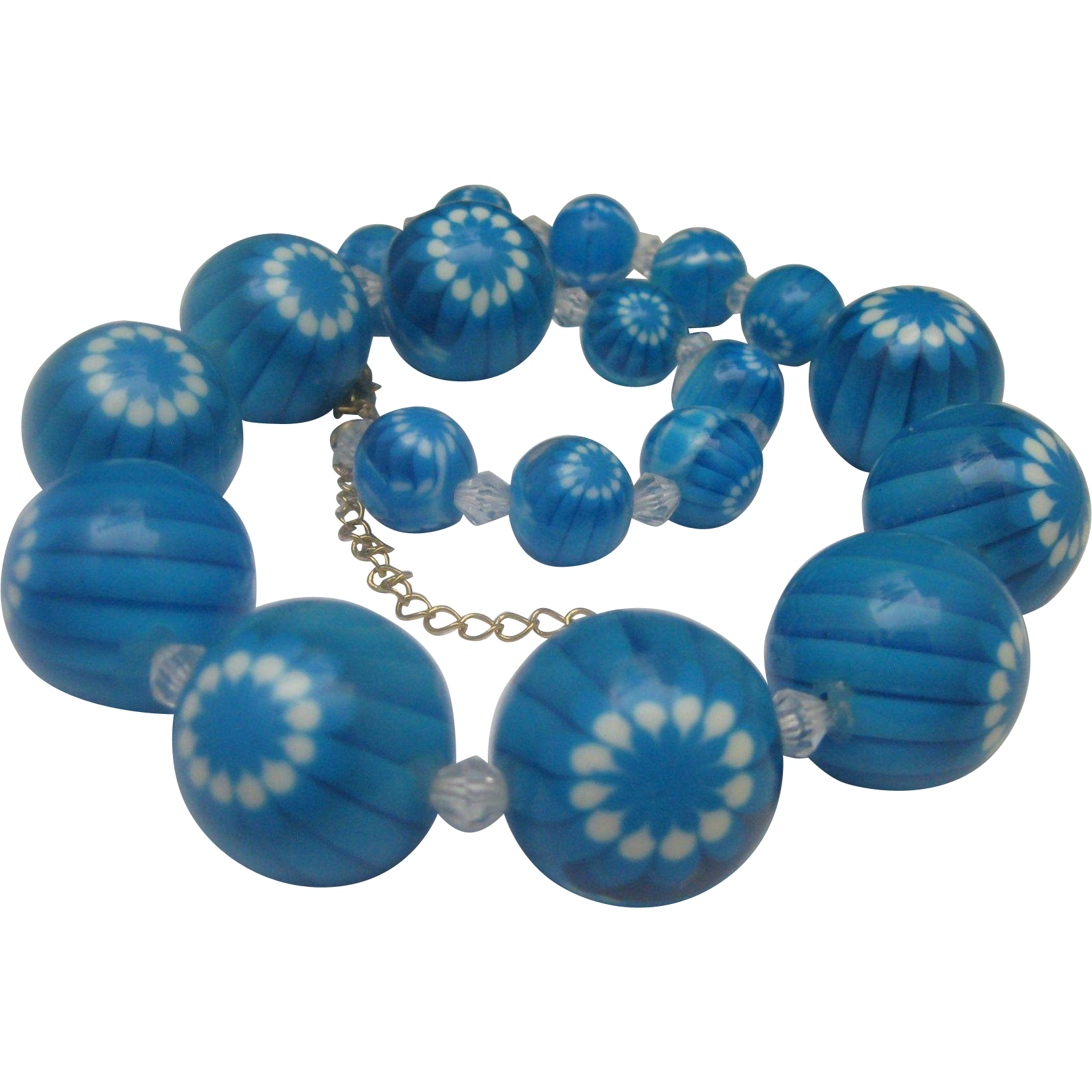 Blue Lucite Bead Necklace 1970