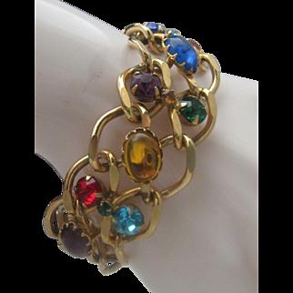 Multi Stoned Gold Toned Bracelet 1970