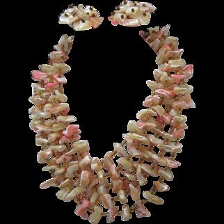 Mop Pink Shell Necklace Earrings 1950