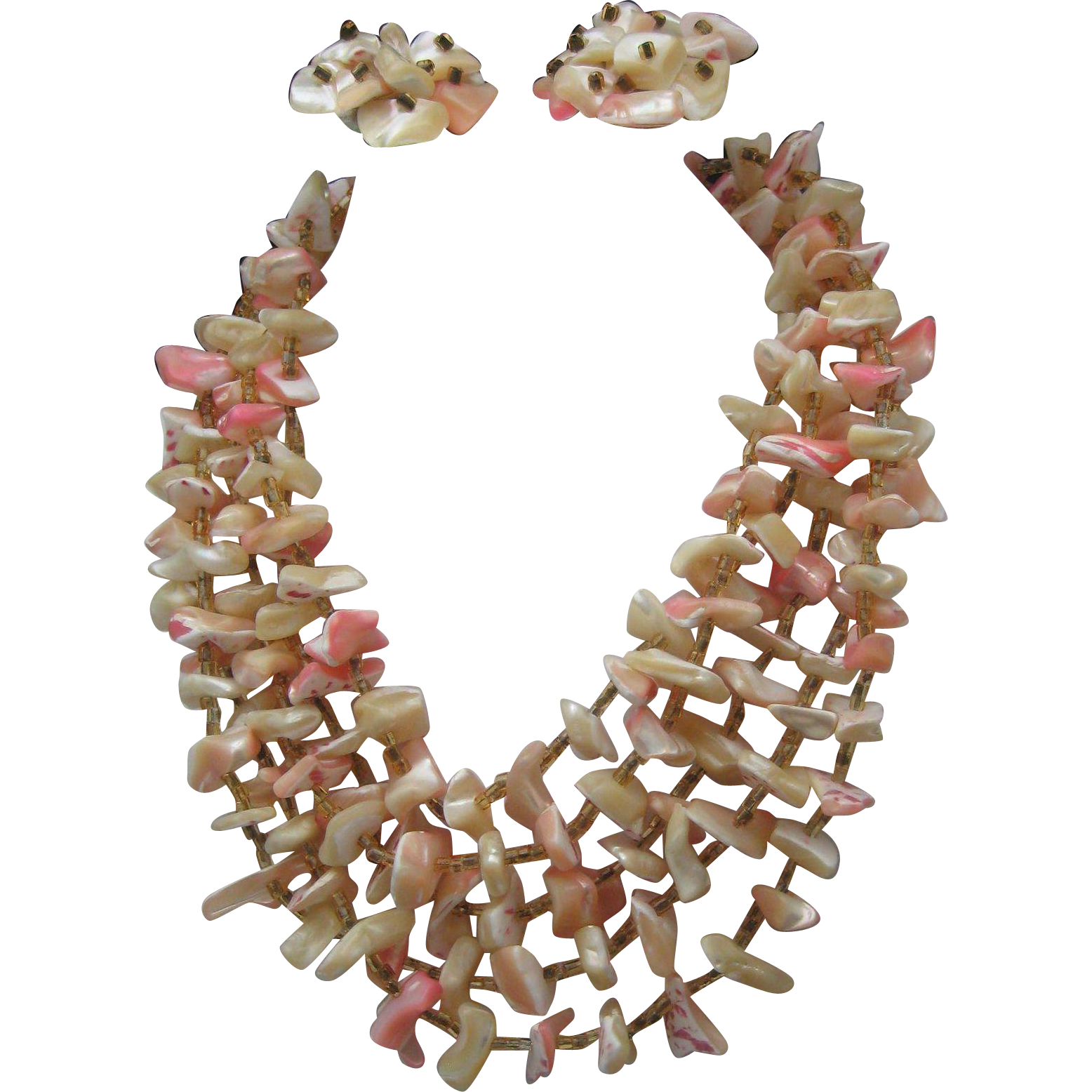Mop Pink Shell Necklace Earrings 1950