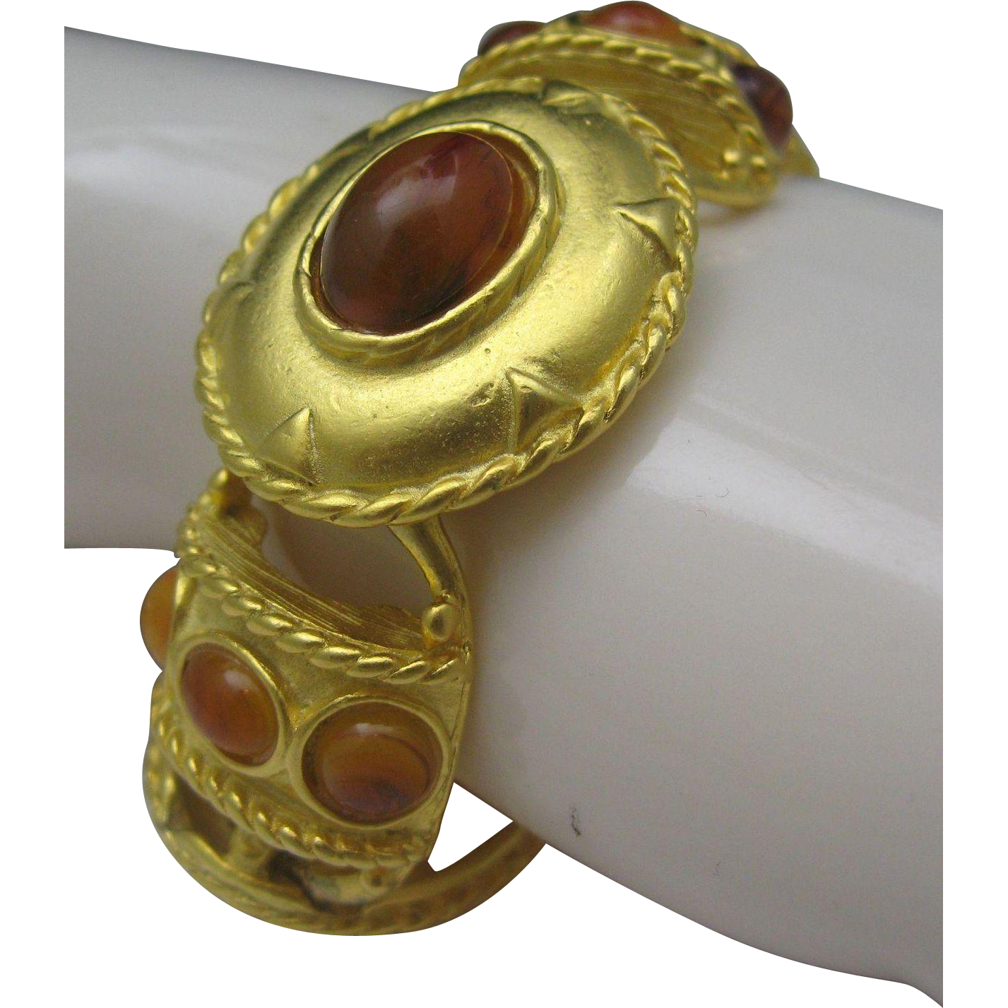 Etruscan Style Gold Toned Bracelet