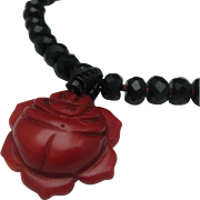 Peyote Bird Red Coral Blossom Necklace