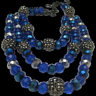 Cascading Cobalt Crystal Art Deco Style Necklace