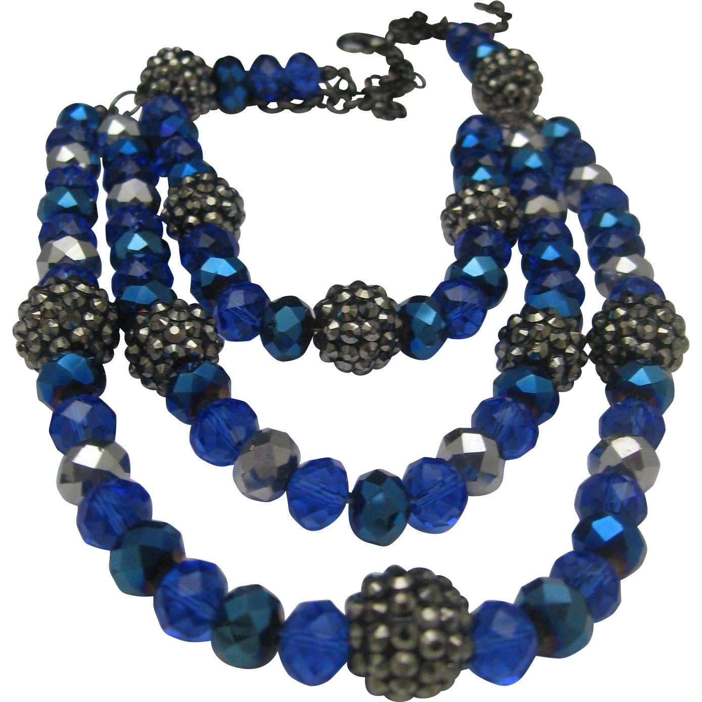 Cascading Cobalt Crystal Art Deco Style Necklace