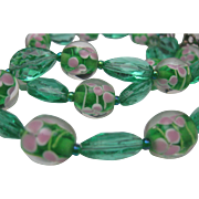 Apple Green  Pink Glass Lampwork necklace