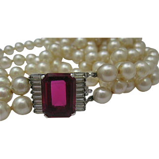 Double Strand Pearl Necklace Ruby Clasp