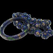 Huge 1/2 inch Diameter Cloisonne Necklace Bracelet set