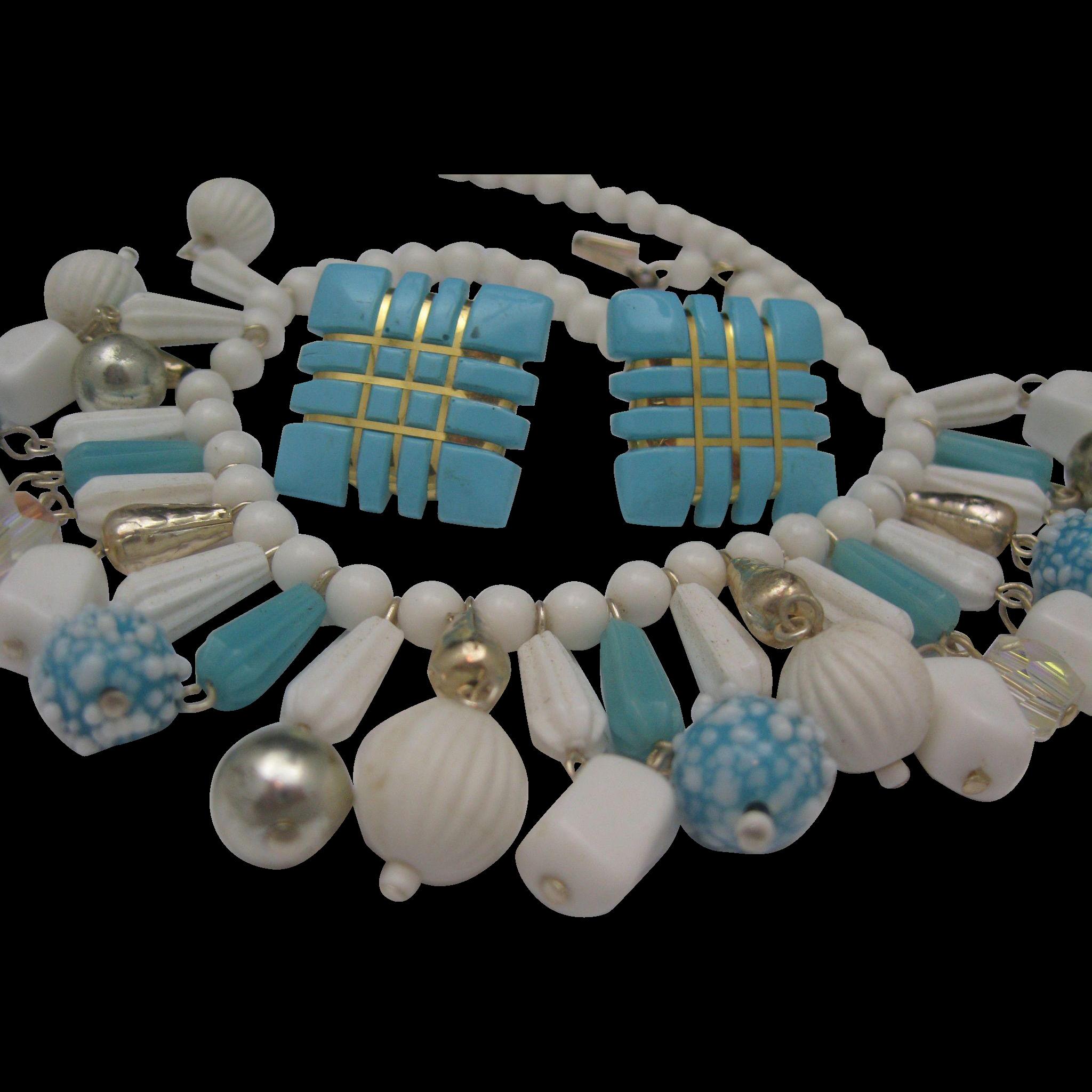 Glass Dangle Necklace earrings Set Japan 1960