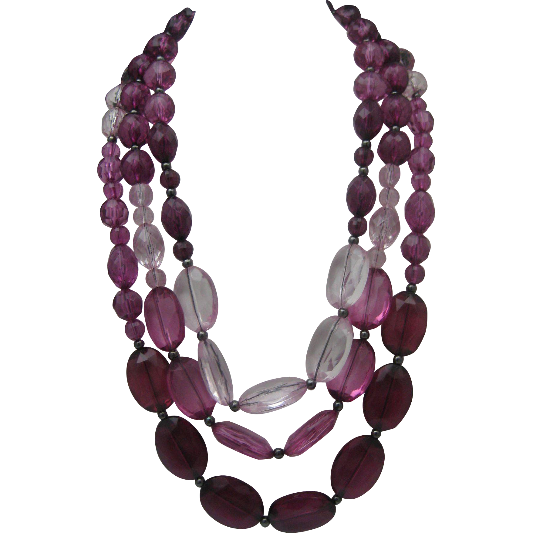Purple Lucite Three Stand Necklace