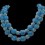 Bubble Blue Plastic c1960 Necklace