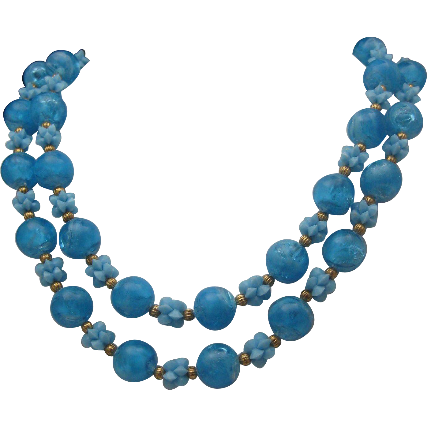 Bubble Blue Plastic c1960 Necklace